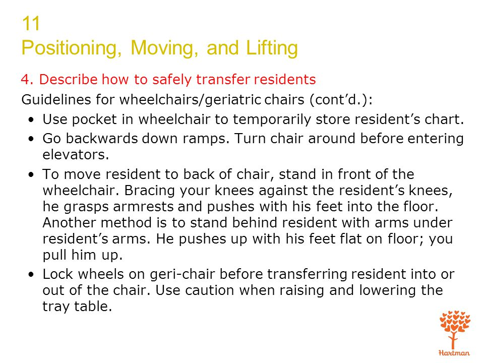 11 Positioning, Moving, and Lifting 4. Describe how to safely transfer residents Guidelines for wheelchairs/geriatric chairs (cont'd.): Use pocket in