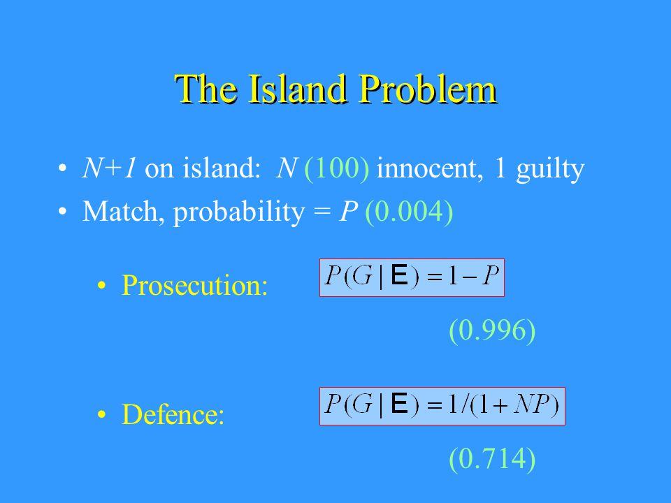 The Island Problem N+1 on island: N (100) innocent, 1 guilty Match, probability = P (0.004) Prosecution: Defence: (0.996) (0.714)