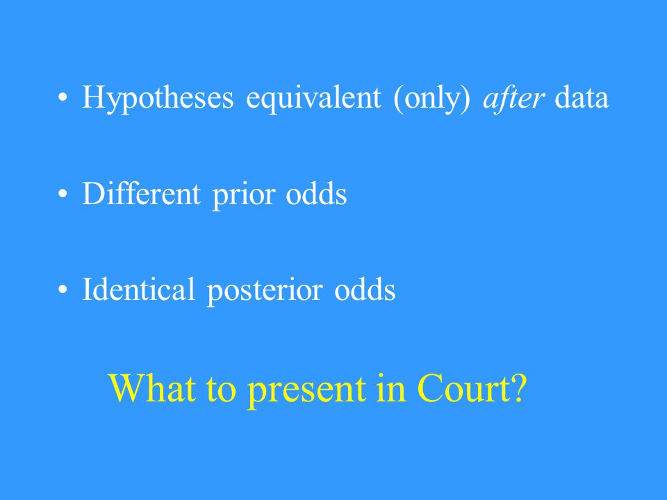 What to present in Court.