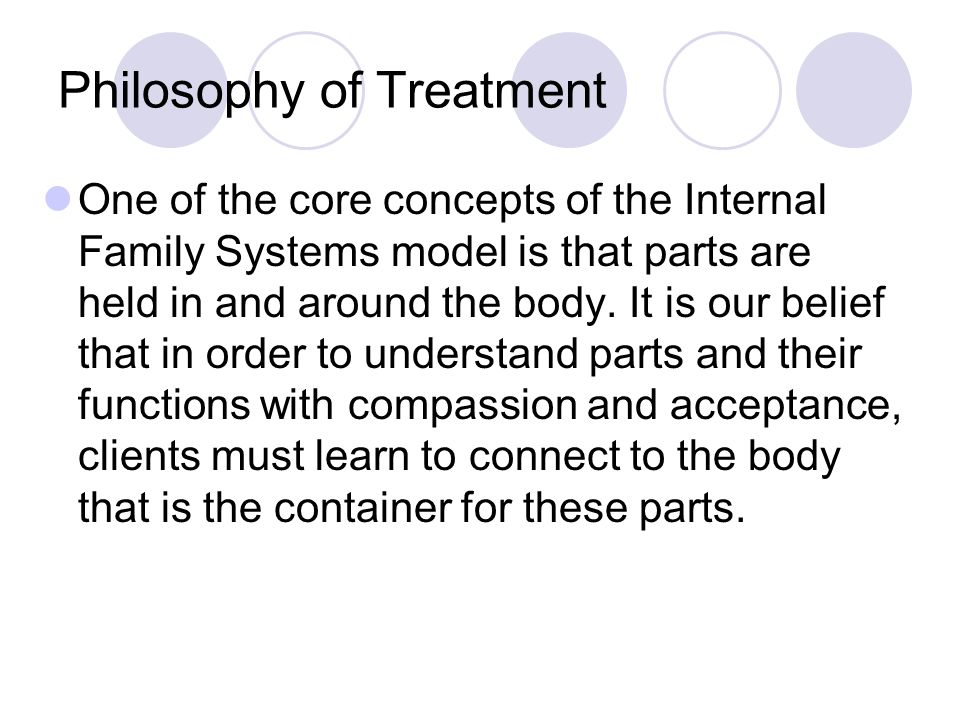 Philosophy of Treatment One of the core concepts of the Internal Family Systems model is that parts are held in and around the body.