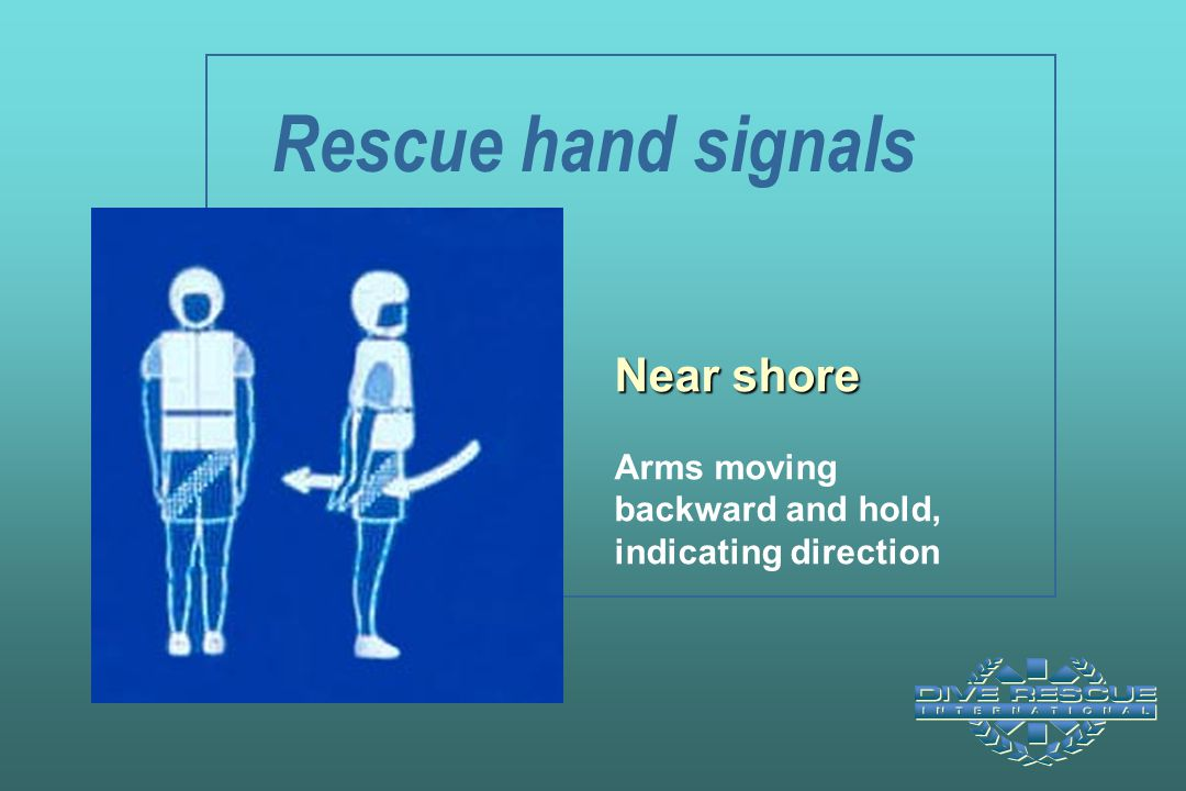 Rescue hand signals Near shore Arms moving backward and hold, indicating direction