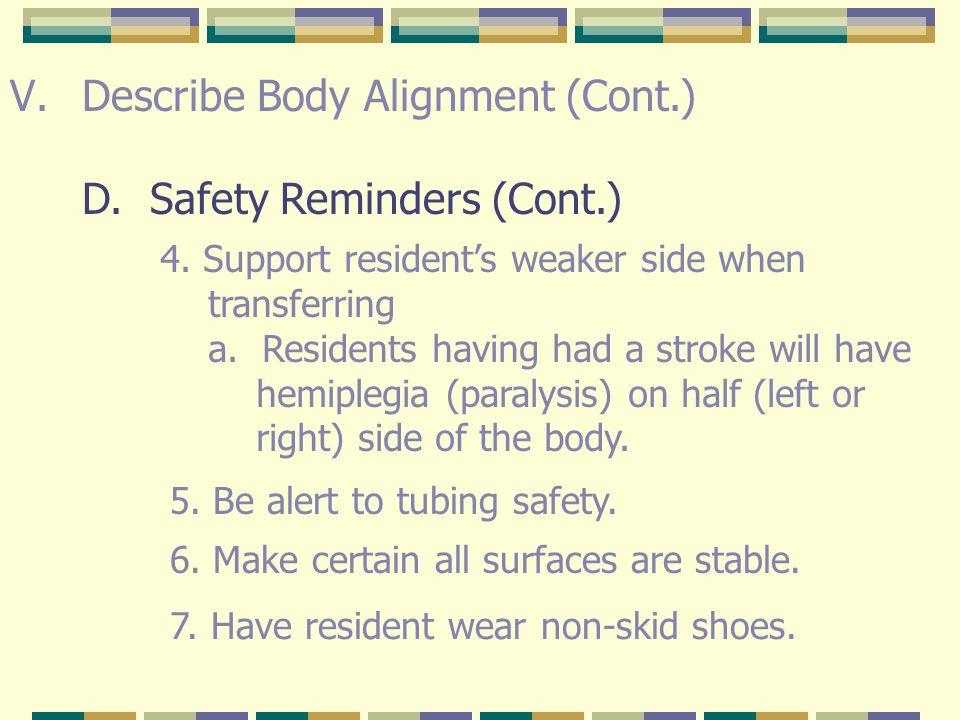 V.Describe Body Alignment (Cont.) D.