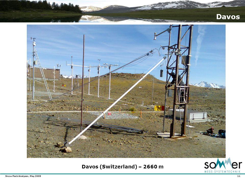 Snow Pack Analyser, May 2009 11 Davos Davos (Switzerland) – 2660 m