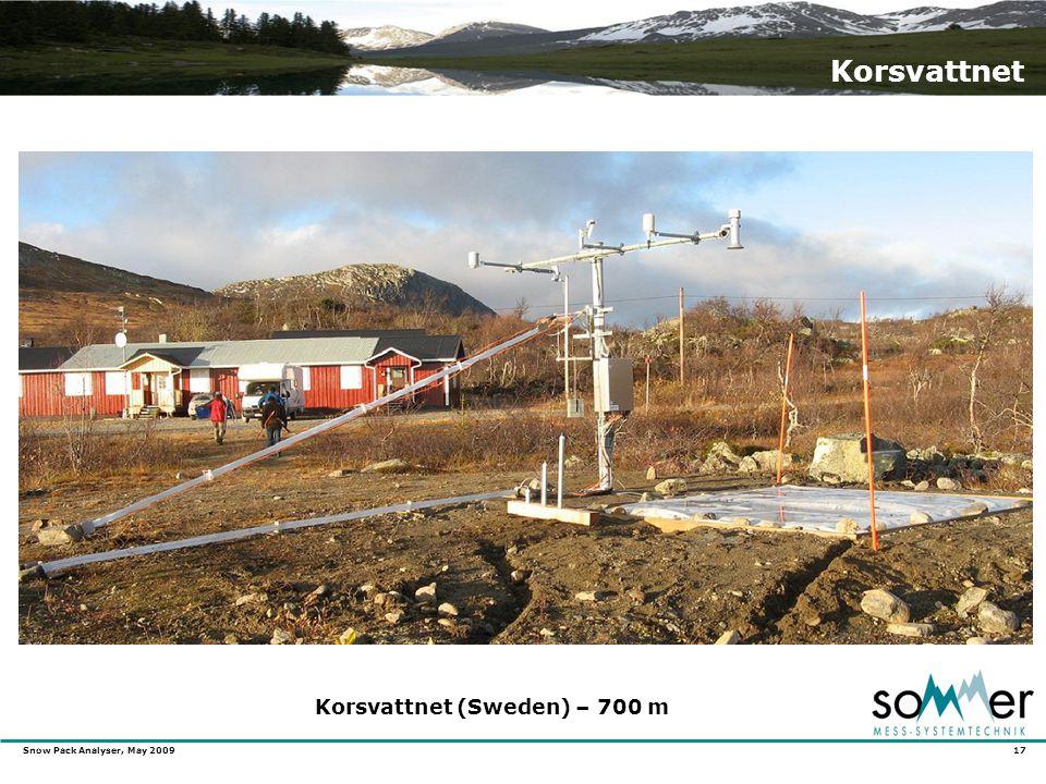 Snow Pack Analyser, May 2009 17 Korsvattnet Korsvattnet (Sweden) – 700 m