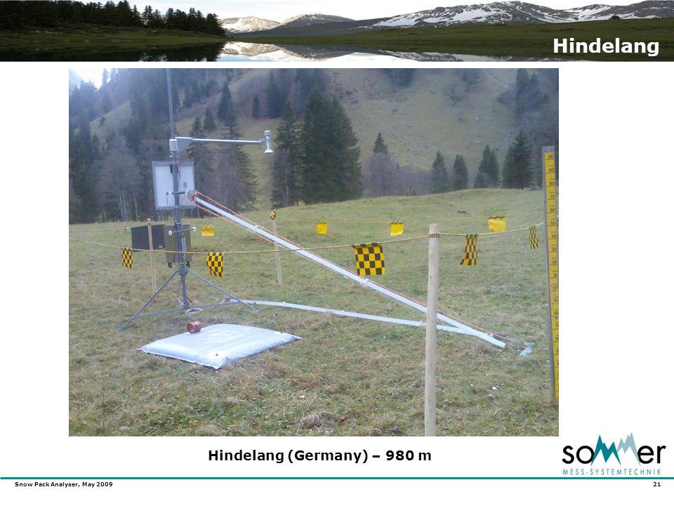 Snow Pack Analyser, May 2009 21 Hindelang Hindelang (Germany) – 980 m