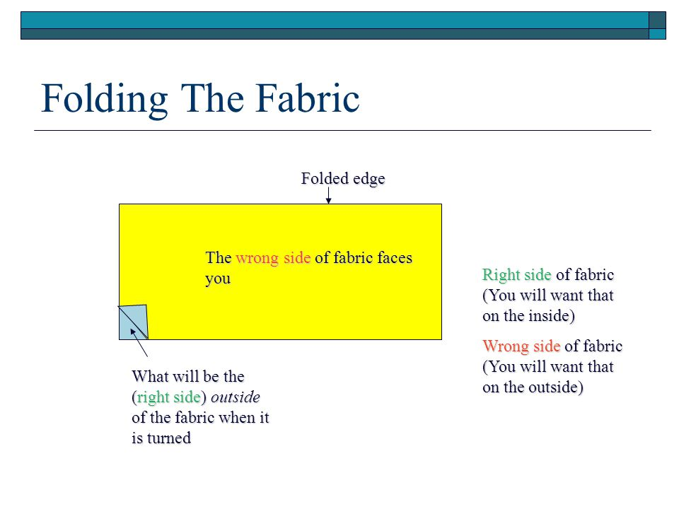 Folding The Fabric The wrong side of fabric faces you What will be the (right side) outside of the fabric when it is turned Right side of fabric (You will want that on the inside) Wrong side of fabric (You will want that on the outside) Folded edge