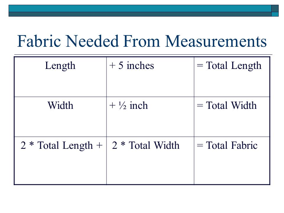 Fabric Needed From Measurements Length+ 5 inches= Total Length Width+ ½ inch= Total Width 2 * Total Length + 2 * Total Width= Total Fabric