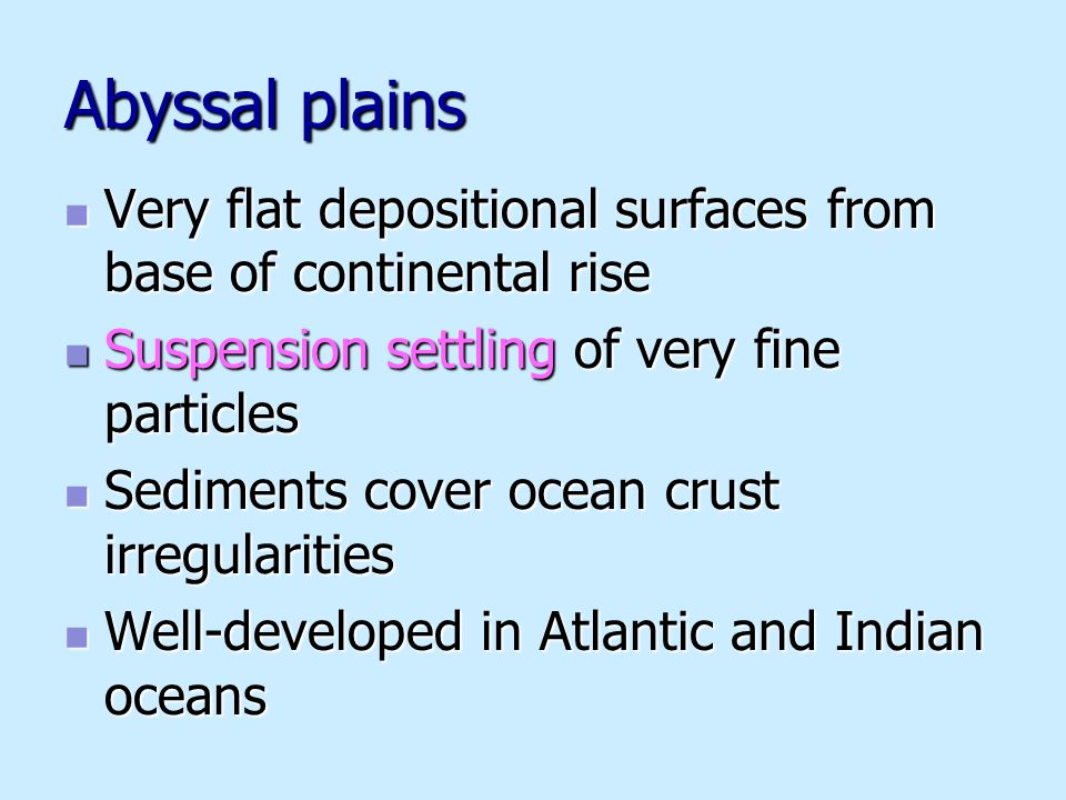 Abyssal plains Very flat depositional surfaces from base of continental rise Very flat depositional surfaces from base of continental rise Suspension