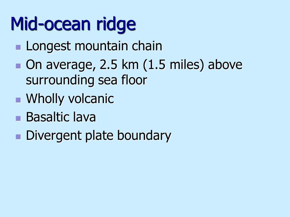 Mid-ocean ridge Longest mountain chain Longest mountain chain On average, 2.5 km (1.5 miles) above surrounding sea floor On average, 2.5 km (1.5 miles) above surrounding sea floor Wholly volcanic Wholly volcanic Basaltic lava Basaltic lava Divergent plate boundary Divergent plate boundary