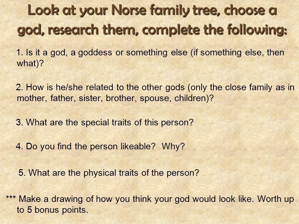 Look at your Norse family tree, choose a god, research them, complete the following: 1. Is it a god, a goddess or something else (if something else, t