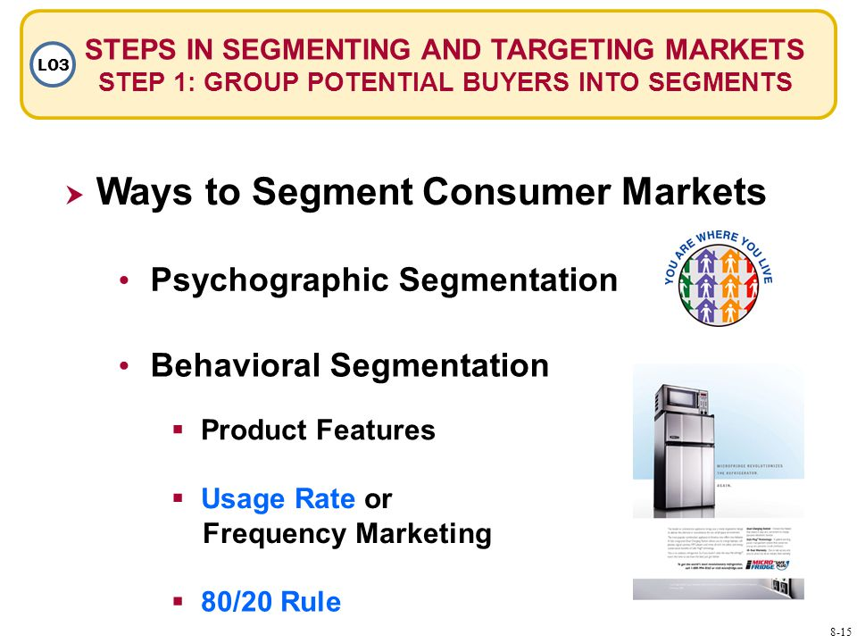  Ways to Segment Consumer Markets Psychographic Segmentation Behavioral Segmentation  Product Features  Usage Rate or Frequency Marketing Usage Rate or Frequency Marketing  80/20 Rule 80/20 Rule STEPS IN SEGMENTING AND TARGETING MARKETS STEP 1: GROUP POTENTIAL BUYERS INTO SEGMENTS LO3 8-15