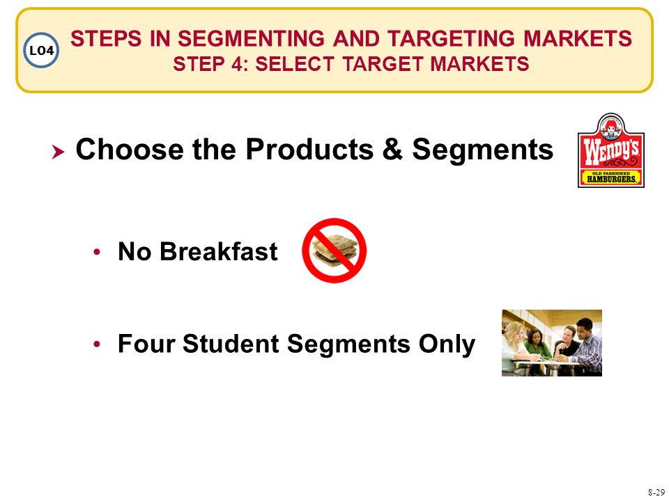 STEPS IN SEGMENTING AND TARGETING MARKETS STEP 4: SELECT TARGET MARKETS LO4  Choose the Products & Segments No Breakfast Four Student Segments Only 8-29