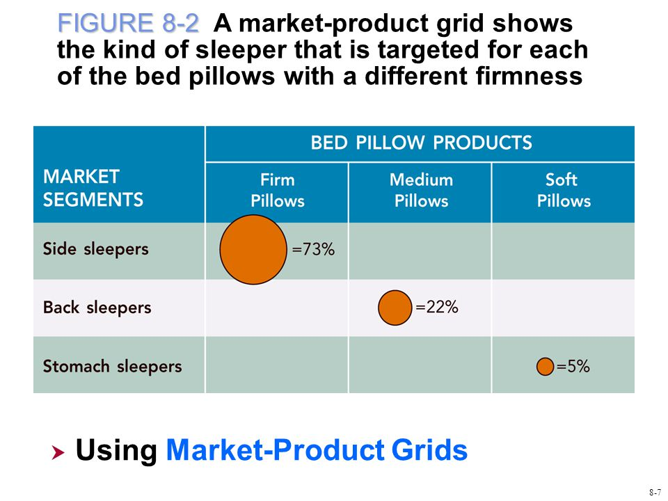 FIGURE 8-2 FIGURE 8-2 A market-product grid shows the kind of sleeper that is targeted for each of the bed pillows with a different firmness  Using Market-Product Grids Using Market-Product Grids 8-7