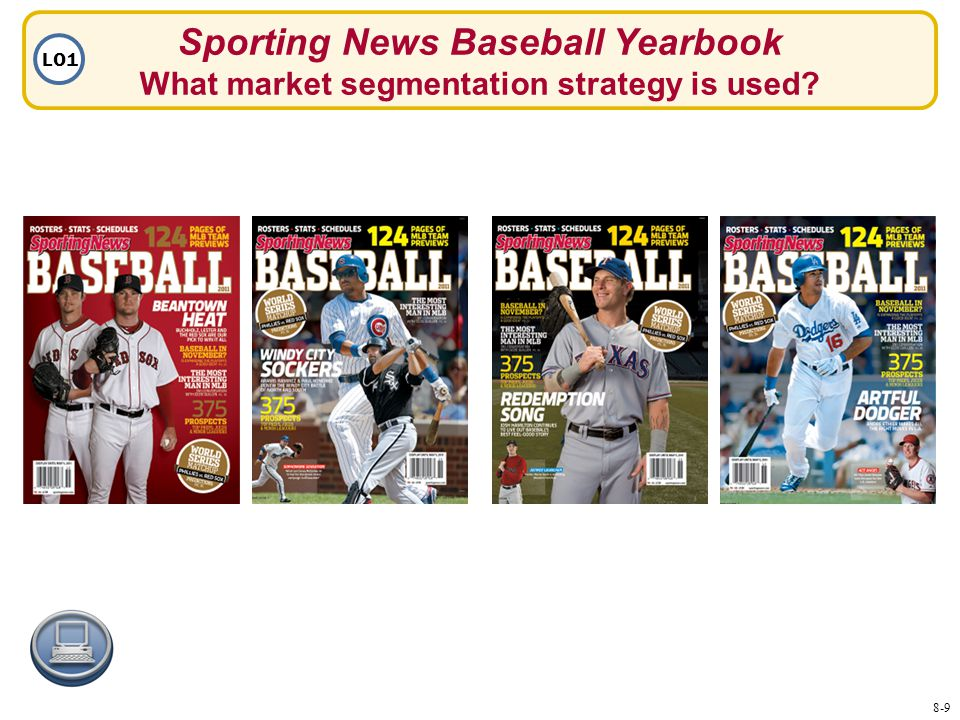 Sporting News Baseball Yearbook What market segmentation strategy is used LO1 8-9