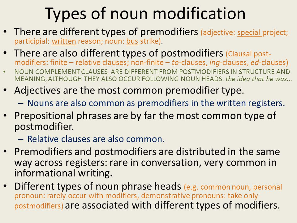 Types of noun modification There are different types of premodifiers (adjective: special project; participial: written reason; noun: bus strike). Ther