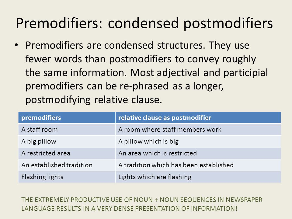 Premodifiers: condensed postmodifiers Premodifiers are condensed structures. They use fewer words than postmodifiers to convey roughly the same inform