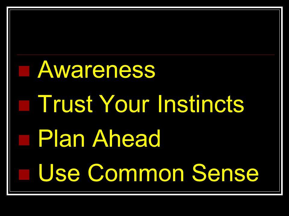 Awareness Trust Your Instincts Plan Ahead Use Common Sense