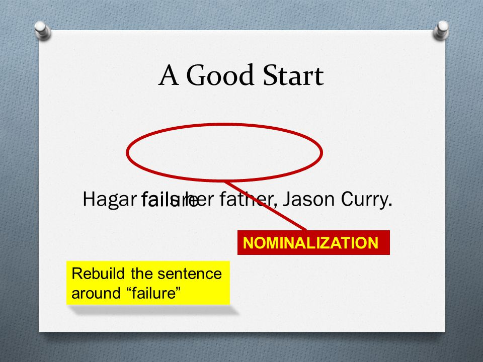 A Good Start Hagar fails her father, Jason Curry.