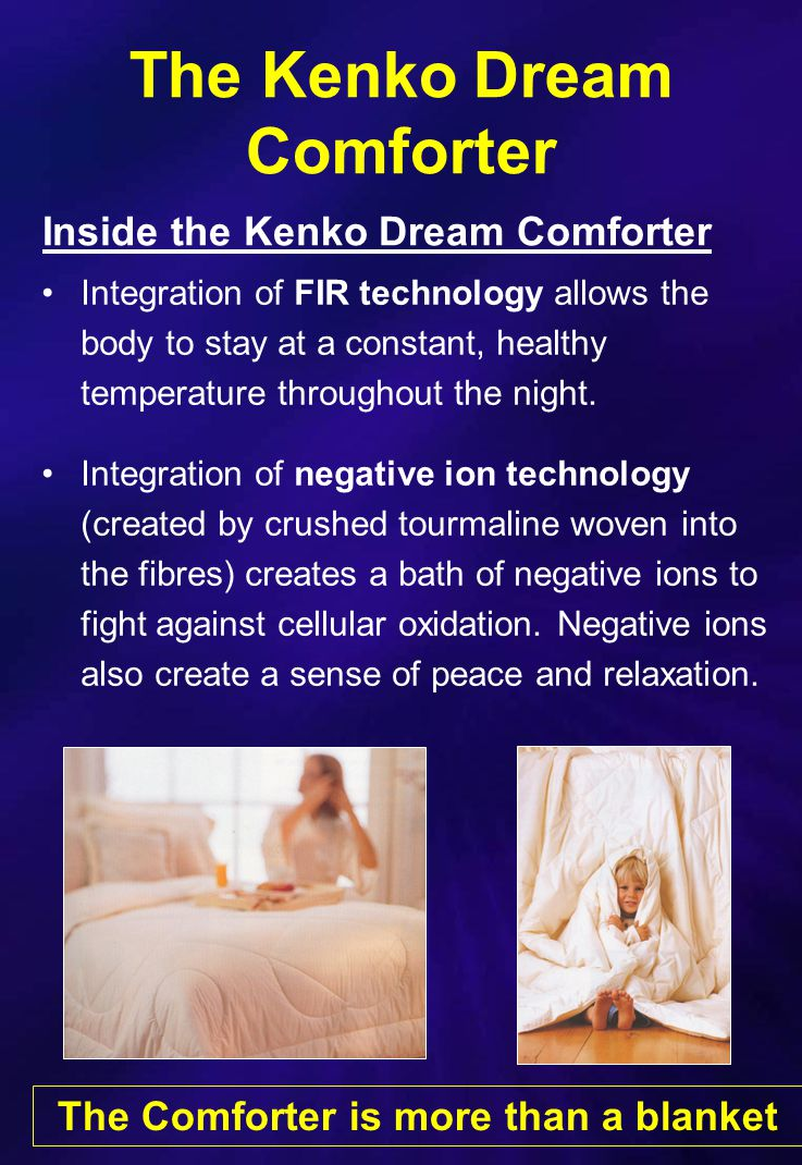 Kenko Dream Comforter The Kenko Dream Comforter Chitosan, a natural antibacterial agent made from the exo-skeleton of crustaceans, provides an extra level of protection and comfort.