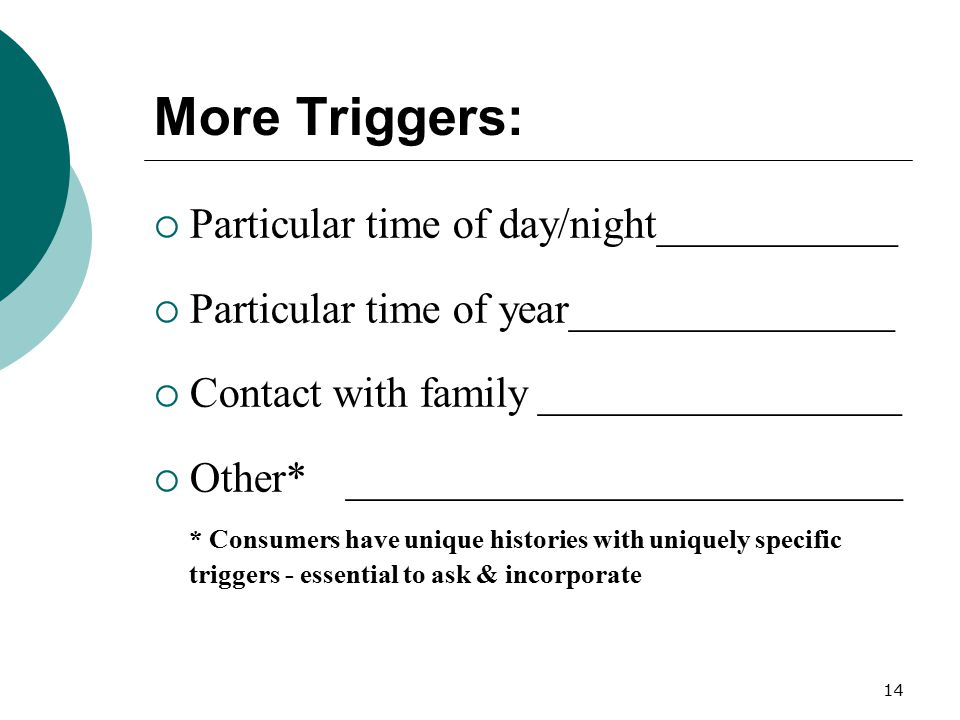 14 More Triggers:  Particular time of day/night___________  Particular time of year_______________  Contact with family_________________  Other*__