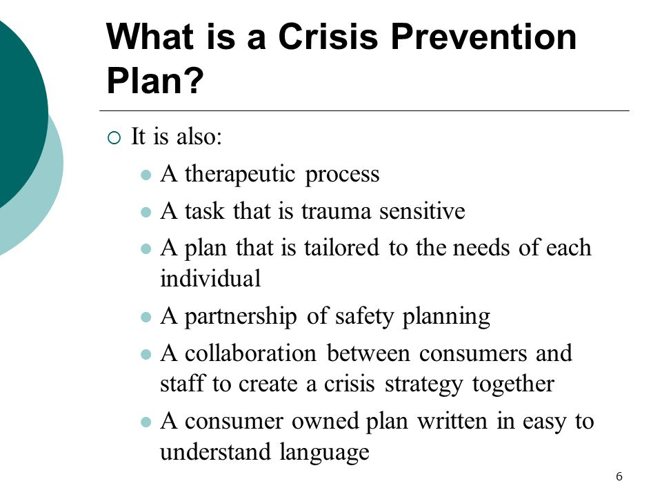 7 Other Names for Crisis Prevention Plans  Safety Tool  De-escalation Preference Tool  Advance Crisis Plan  Individual Crisis Plan  Personal Safety Plan  Personal Safety Form  Safety Zone Tool