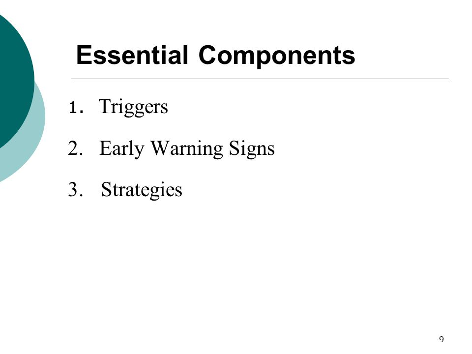 9 Essential Components 1. Triggers 2. Early Warning Signs 3. Strategies