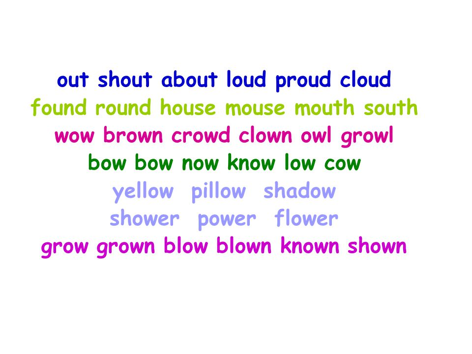 grow grown blow blown known shown grow blown known grown shown grown shown blow grow grown blow blown known shown growgrown ow Long O sound