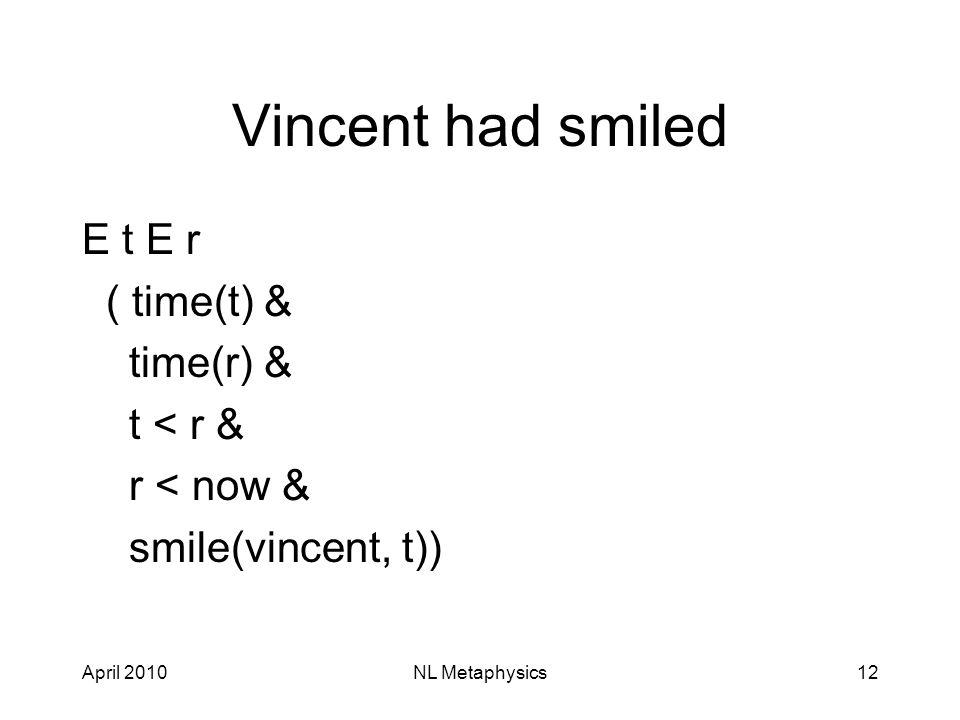 April 2010NL Metaphysics12 Vincent had smiled E t E r ( time(t) & time(r) & t < r & r < now & smile(vincent, t))