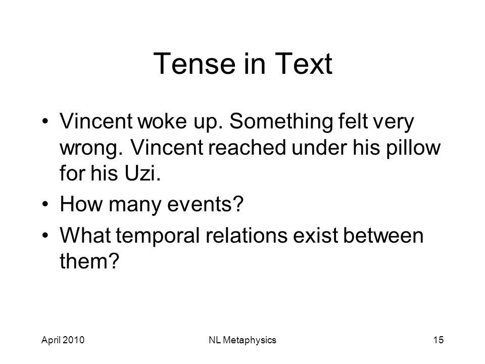 April 2010NL Metaphysics15 Tense in Text Vincent woke up.