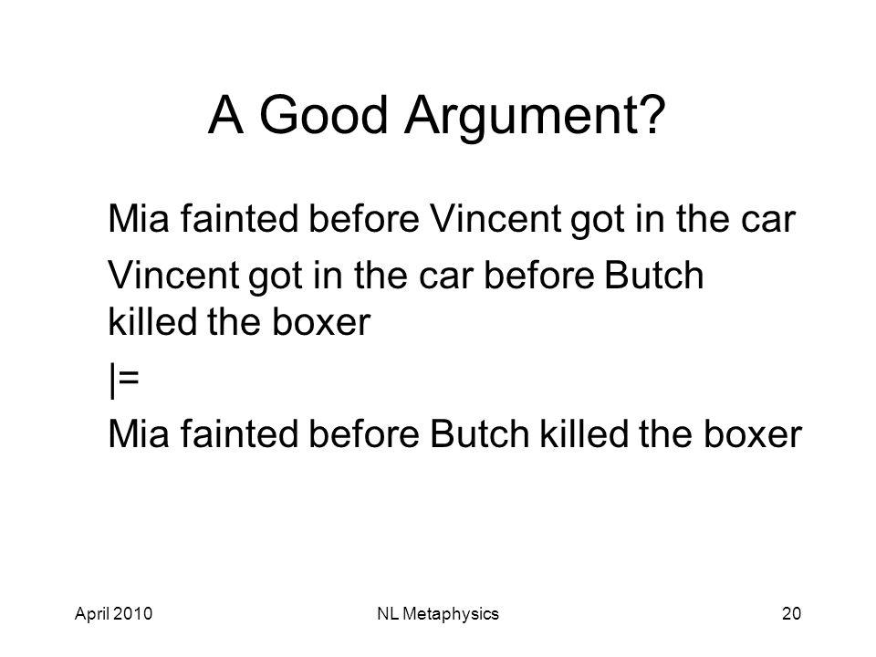 April 2010NL Metaphysics20 A Good Argument.