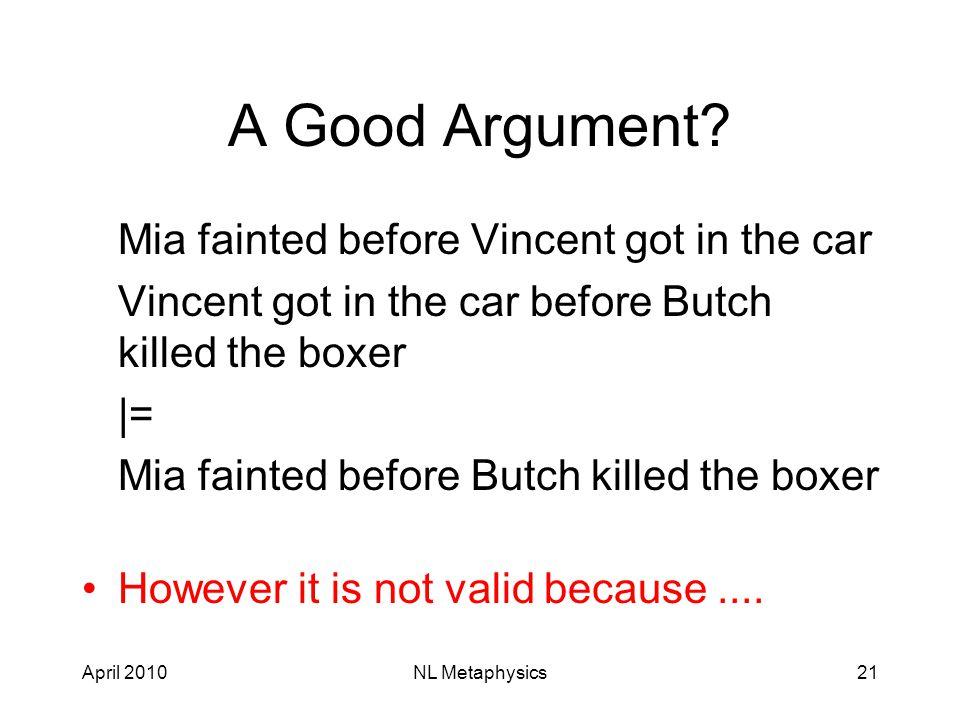 April 2010NL Metaphysics21 A Good Argument.