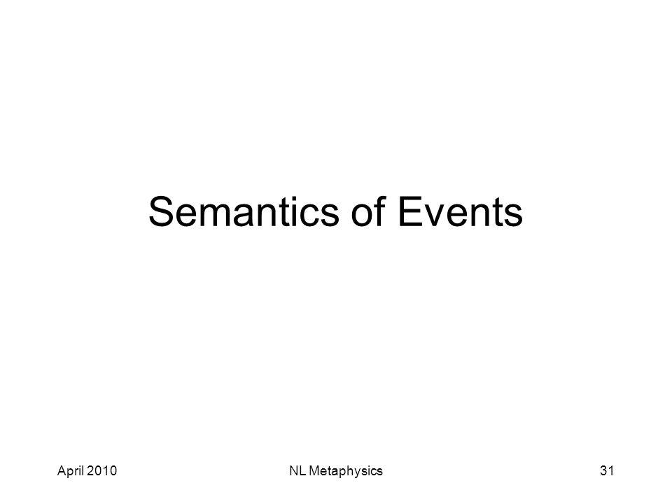 April 2010NL Metaphysics31 Semantics of Events