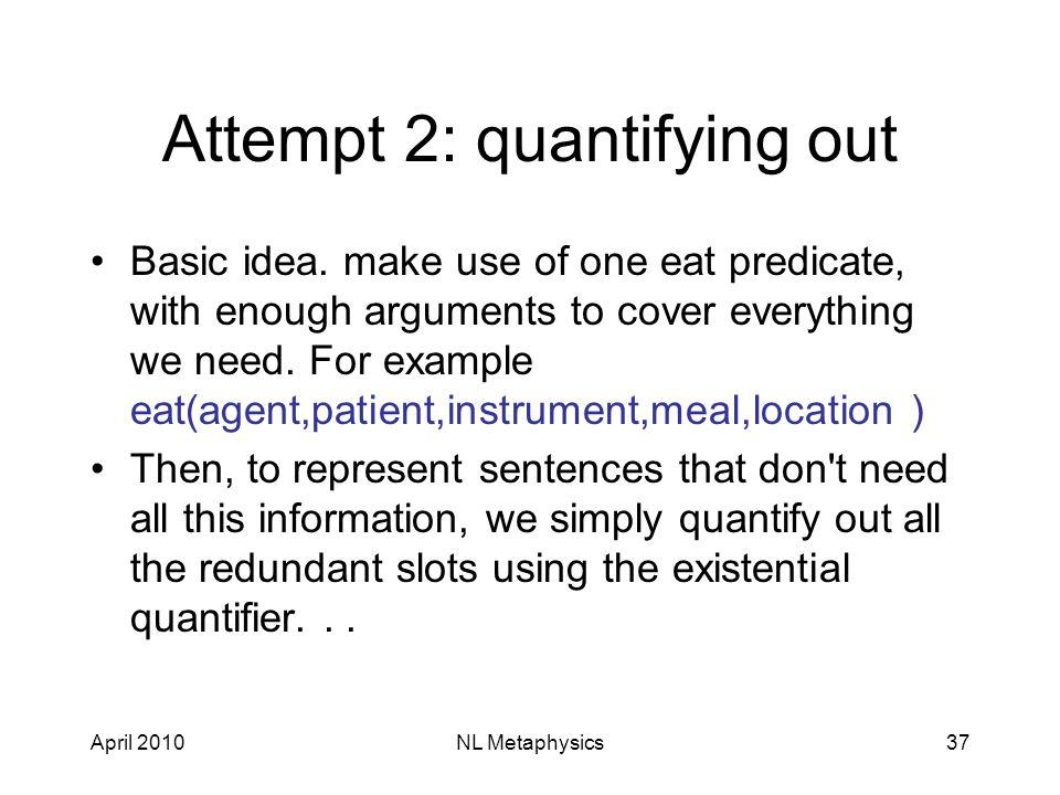 April 2010NL Metaphysics37 Attempt 2: quantifying out Basic idea.