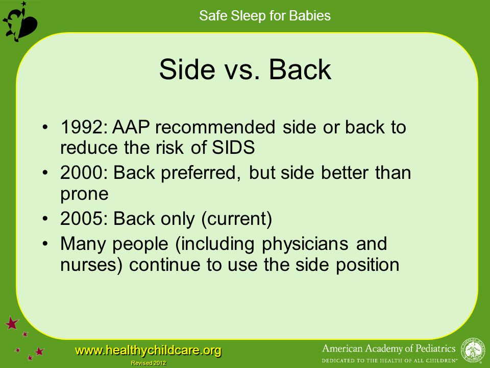 Safe Sleep for Babies www.healthychildcare.org Revised 2012 Side vs. Back 1992: AAP recommended side or back to reduce the risk of SIDS 2000: Back pre