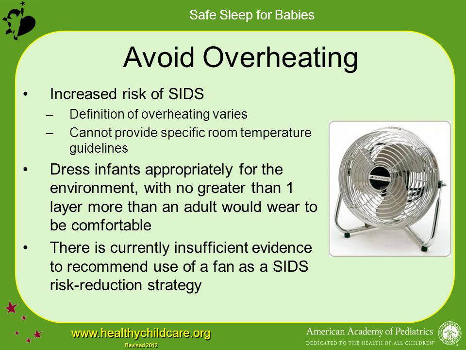 Safe Sleep for Babies www.healthychildcare.org Revised 2012 Avoid Overheating Increased risk of SIDS –Definition of overheating varies –Cannot provide