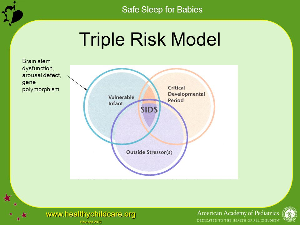 Safe Sleep for Babies www.healthychildcare.org Revised 2012 Elements of a Safe Sleep Policy Healthy babies always sleep on their backs Obtain physician's note for non–back sleepers –The note should include prescribed sleep position and reason for not using the back position Use safety-approved cribs and firm mattresses Crib: free of toys, stuffed animals, and excess bedding –Alternative: sleep clothing Sleep only one baby per crib