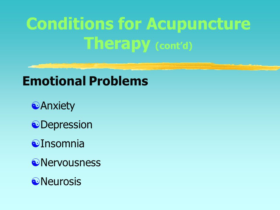 Conditions for Acupuncture Therapy (W.H.O., 1979)  Abdominal pain  Constipation  Diarrhea  Hyperacidity  Indigestion  Digestive System