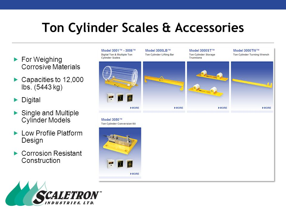 Ton Cylinder Scales & Accessories  For Weighing Corrosive Materials  Capacities to 12,000 lbs.