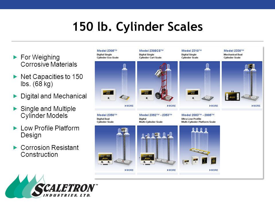 Cylinder Scale Features & Benefits  Scale is fully electronic – competitive models use a combination of a hydraulic load cell and a pressure transducer  Base features 3 load cells and patented 3 point suspension for increased accuracy – competitive models use only 1 load cell  Base is constructed of rugged molded fiberglass – competitive models use PVC  Knob controlled tare for ease of adjustment  Only company to offer a true dual scale base model  Patented design Tare knobs3 load cells per disk Molded fiberglass dual base
