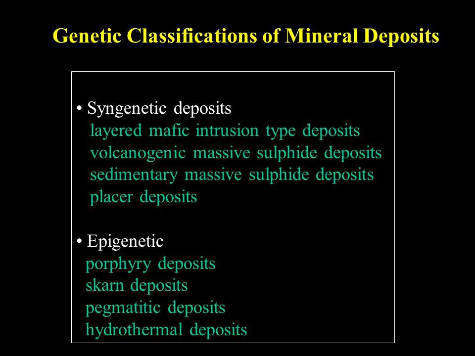 Genetic Classifications of Mineral Deposits Syngenetic deposits layered mafic intrusion type deposits volcanogenic massive sulphide deposits sedimenta