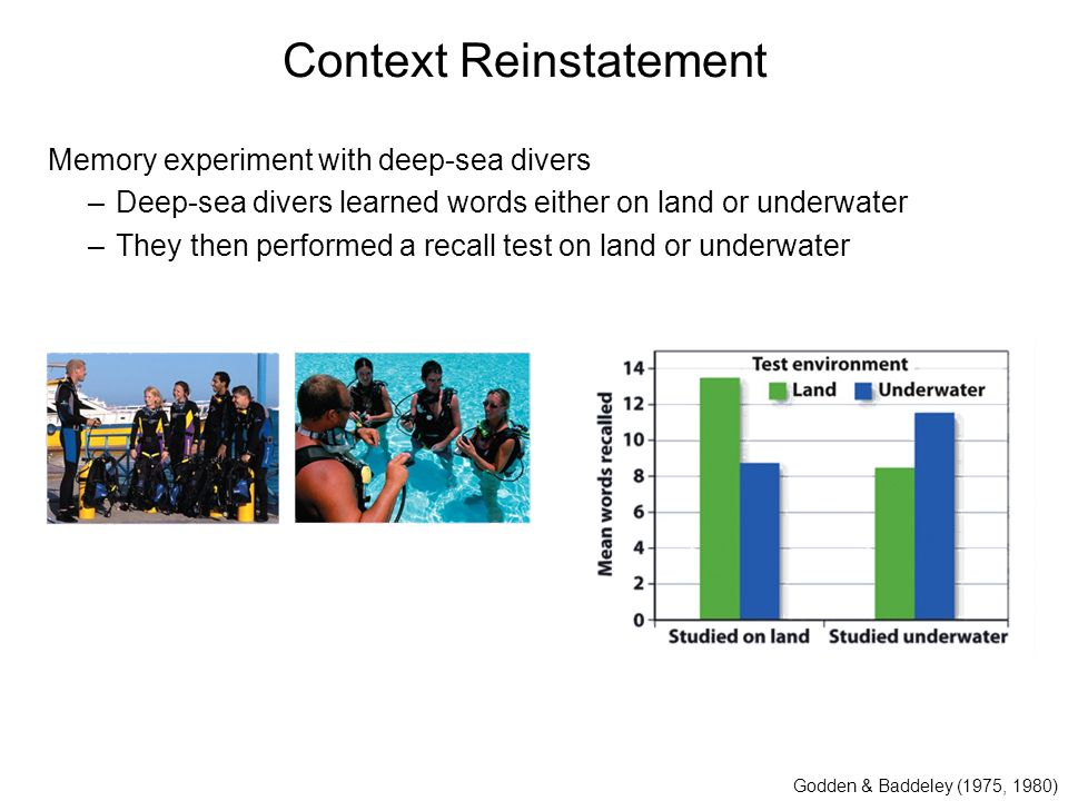 Context Reinstatement Memory experiment with deep-sea divers –Deep-sea divers learned words either on land or underwater –They then performed a recall