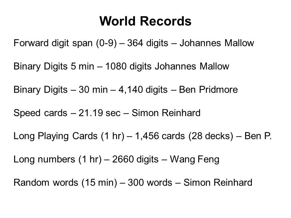 World Records Forward digit span (0-9) – 364 digits – Johannes Mallow Binary Digits 5 min – 1080 digits Johannes Mallow Binary Digits – 30 min – 4,140 digits – Ben Pridmore Speed cards – 21.19 sec – Simon Reinhard Long Playing Cards (1 hr) – 1,456 cards (28 decks) – Ben P.