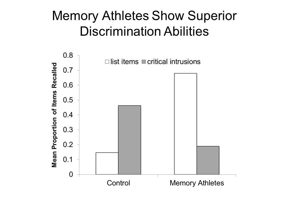 Memory Athletes Show Superior Discrimination Abilities