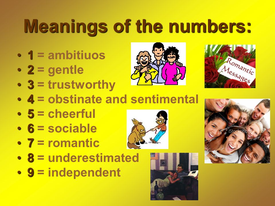 Meanings of the numbers: 11 = ambitiuos 22 = gentle 33 = trustworthy 44 = obstinate and sentimental 55 = cheerful 66 = sociable 77 = romantic 88 = underestimated 99 = independent