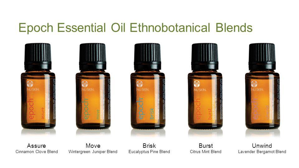 Epoch Essential Oil Ethnobotanical Blends Assure Cinnamon Clove Blend Move Wintergreen Juniper Blend Brisk Eucalyptus Pine Blend Burst Citrus Mint Blend Unwind Lavender Bergamot Blend