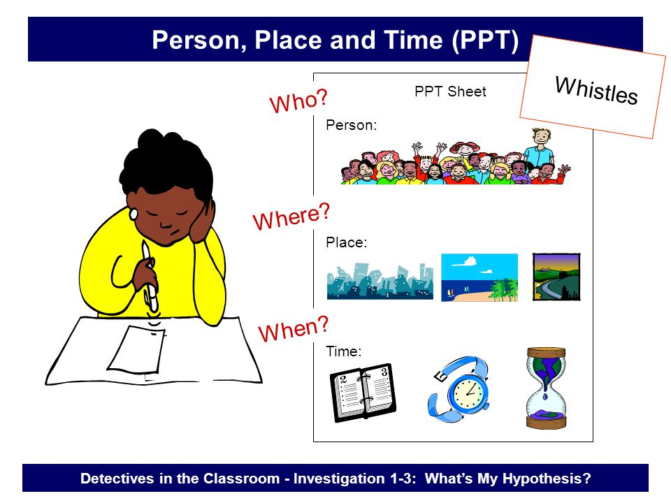 Person, Place and Time (PPT) Person: Place: Time: Who.
