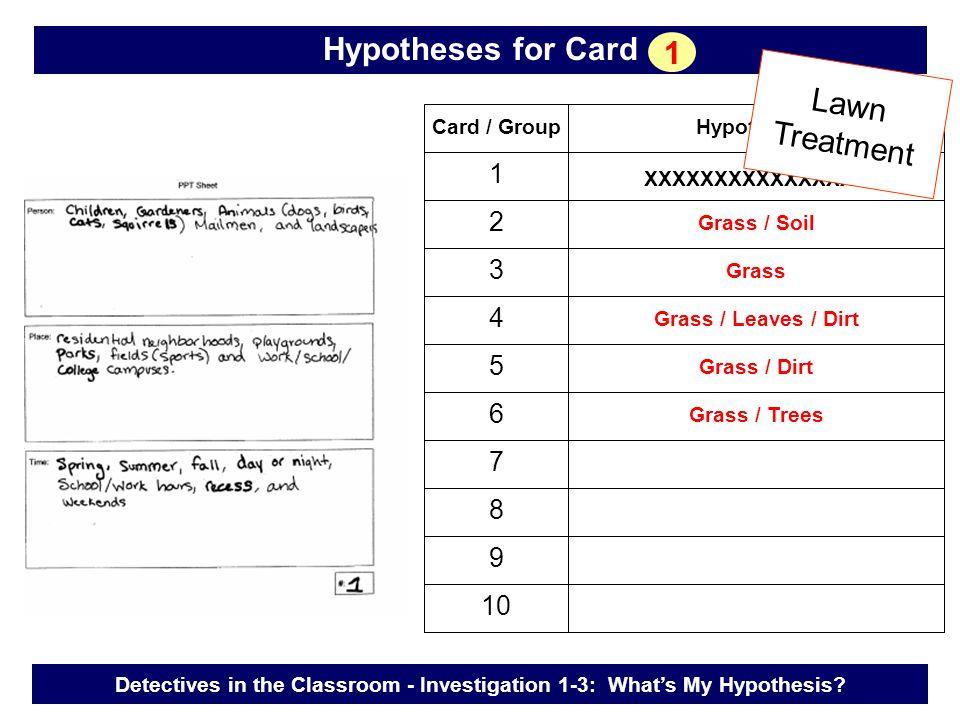 Card / GroupHypotheses 1 2 3 4 5 6 7 8 9 10 Grass / Soil Grass Grass / Leaves / Dirt XXXXXXXXXXXXXXXX Grass / Dirt Grass / Trees Lawn Treatment Detect