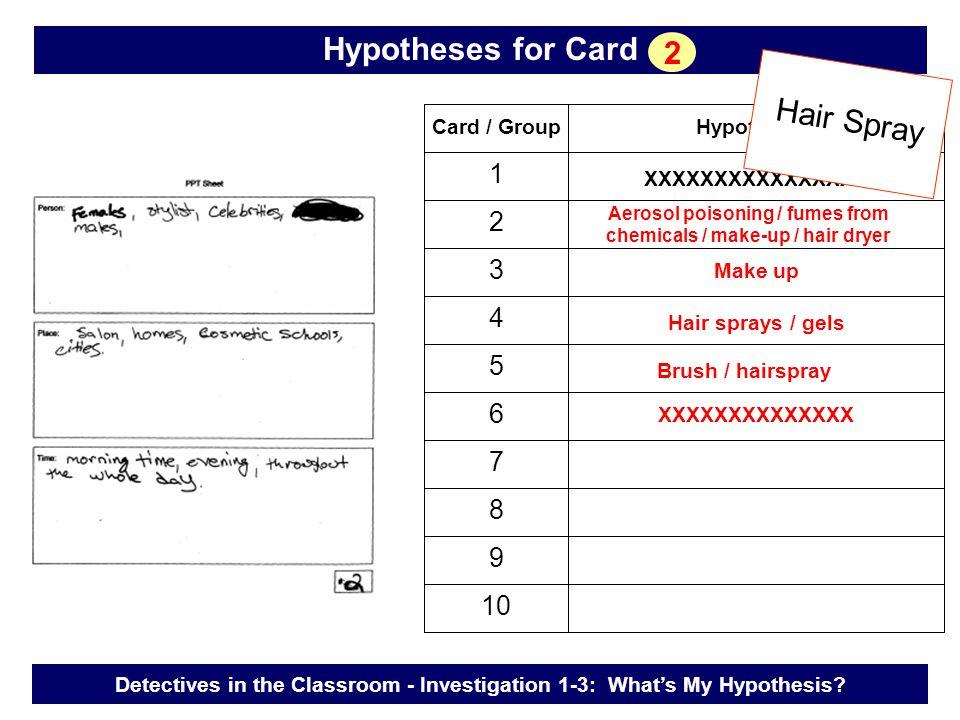 Card / GroupHypotheses 1 2 3 4 5 6 7 8 9 10 Make up XXXXXXXXXXXXXXXX Hair sprays / gels XXXXXXXXXXXXXX Brush / hairspray Hair Spray Detectives in the