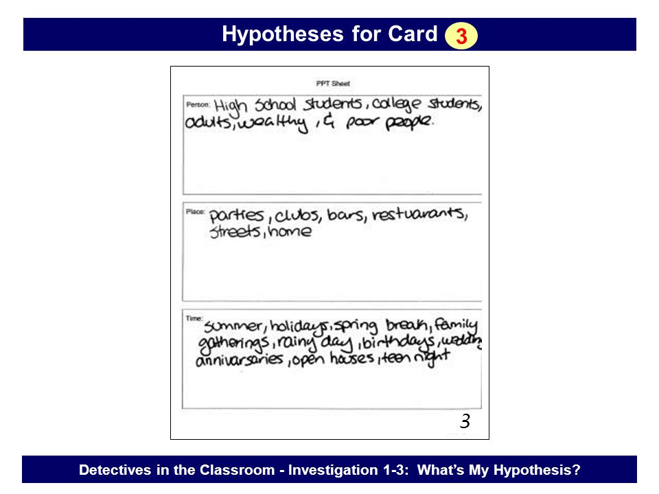 Detectives in the Classroom - Investigation 1-3: What's My Hypothesis? Hypotheses for Card 3 3