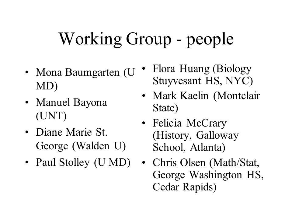 Working Group - people Mona Baumgarten (U MD) Manuel Bayona (UNT) Diane Marie St. George (Walden U) Paul Stolley (U MD) Flora Huang (Biology Stuyvesan